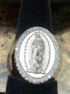 Large Virgin Mary Our lady of Guadalupe Ring Sterling Silver 925 CZ stones