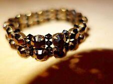 Accessorize stretch dark brown bronze carnival glass bead double row bracelet