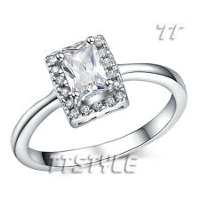 TT 18K White Gold Plated Princess Cut Engagement Wedding Ring (RF66)