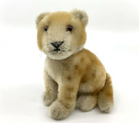 Steiff Young Lion Cub Sitting Mohair Plush 10cm 4in 1950s Swivel Head no ID Vtg