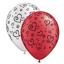 Party Supplies Wedding Love  Heart Swirls Red & White Latex Balloons Pack of 10