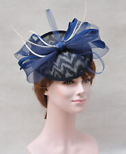 Kentucky Derby Feather Floral Sinamay  Fascinator Hat Cocktail Navy Blue