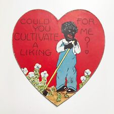 Vintage Black Americana Farmer Garden Cultivate Valentine Day Card Antique