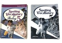 Abeka Spelling Vocabulary & Poetry Grade 5 Teacher Edition Student Test Key 5th