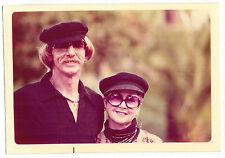 Vintage 70s PHOTO Couple Both Wearing Hats