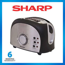 NEW Sharp Toaster KZ2S01 2 Slice Retro Style Brushed Stainless Steel and Defrost