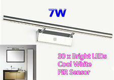 7W 30 x LED Bathroom Cabinet Makeup Wall Mirror Front Light Lamp Cool White PIR