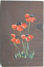 Red Flowers,Painting on Wood,1940s, American