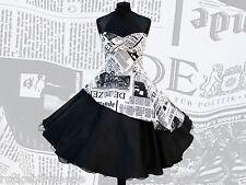 Petticoatkleid 50er 60er Jahre knielang,Rockabillymode Newspaperprint schwarz