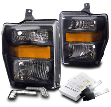2008-2010 FORD F250 F350 SUPER DUTY BLACK HEADLIGHT W/DRL LED LAMP+6K XENON HID