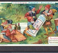 Victorian Gnome 1903 Fantasy Picnic Wine Bottles Liebig Advertising Trade Card