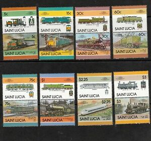 ST LUCIA 1986 SET OF RAILWAY LOCOMOTIVE STAMPS S.G. 858-873 MNH PAIRS