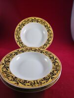 "LYNN'S  FINE CHINA VALETTA BLACK 3 RING SOUP PLATE 8 3/4"" DIAMETER. EXCELLENT"