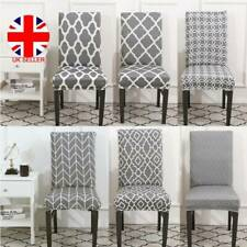 4PCS Stretch Dining Chair Cover Grey Slipcover Removable Wedding Banquet Event ~