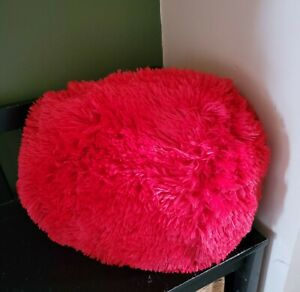 """Mainstays 11"""" Round Furry Fluffy Red Decorative Throw Pillow Shag NWT NEW"""