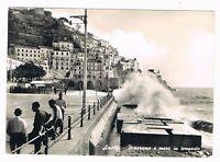 amalfi costiera salerno mare in tempesta animata  spedita anni 50