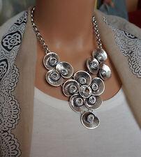 Bettelkette Statement Halskette Modeschmuck Kette Silber Kristall Collier NO4717