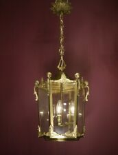 LARGE ANTIQUE BRONZE HANGING LANTERN CHANDELIER LAMP FOYER BRASS USED 3L Ø 14""