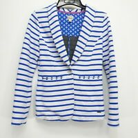 Hatley Womens Blue Stripes Comfortable Stretch Perfect Fit Blazer Jacket M