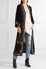 NWT ALICE + OLIVIA Stara velvet embroidered maxi kaftan kimono jacket coat M / L