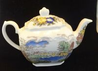 Vintage Windsor Tea Pot Made in England - Outdoor Scene w/ floral accents -White