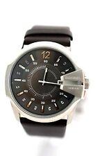 DIESEL MEN'S DZ1206 Rollcage Analog Black Leather Bracelet