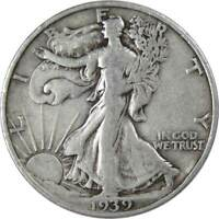 1939 S 50c Liberty Walking Silver Half Dollar US Coin F Fine