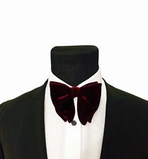 Mens Burgundy Bow Tie - Tom Ford Inspired Velvet Bowtie, Mens big bow tie