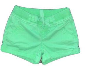 Justice Chino Shorts Neon Green Girls size 7R Cuffed Shorts Elastic Waist