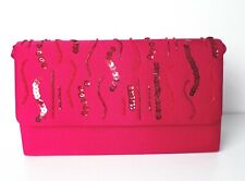 Red Satin Clutch Bag Beads Sequins Party Evening Purse