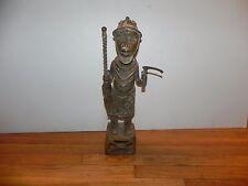 "Arts of Africa - Bronze Court Figure _ Benin _ Nigeria - 19"" X 8"""
