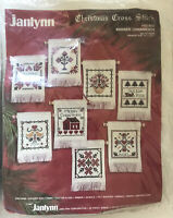 Vintage 1987 Janlynn Christmas Cross Stitch Kit Banner Ornaments set of 8 #50-80