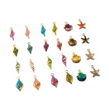 Lot of 20 Colorful Enamel Alloy Shells Charms Pendant DIY Crafts Accessories