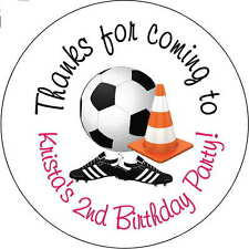 12 soccer ball girls boys stickers Birthday Party 2.5 Inch Personalized loot