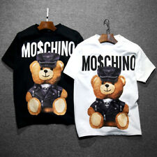 Moschino Funny Womens Men Short Sleeves Cotton Tops Bear Printed T-shirt UK 2020