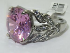 Ladies pink ring cz round 11 carat sapphire accents stainless steel new 1512