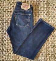 Mens Levi's 501 Straight Fit Blue Denim Jeans Button Fly Size 30W 31L