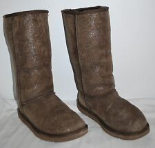 Ugg Australia 5852 Classic Tall Paisley Print Brown Boots Women's size 8 GUC
