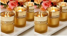 12 gold votive candle holders, gold rhinestone candle holders