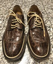 Cole Haan Brown Crocodile Lace Up Men's Oxfords Shoes