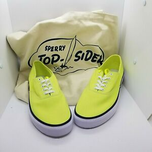 Sperry Top Sider Men's 11 Neon Yellow Canvas Lace-Up Shoes STS19514 W/Tote Bag