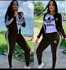 Adidas Women's Tracksuit 3 Pieces Jackets, Top & Bottom sets Black New with Tags