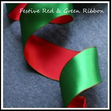 Christmas Ribbon FESTIVE RED & GREEN 63mm x 4 meters - Wired Ribbon