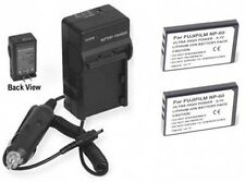 TWO NP-60 NP60 Batteries + Charger for Fuji FujiFilm FinePix 50i F401 F410 F601
