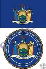 NEW YORK State Flag + SEAL 2 bumper stickers decals USA