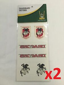 Official NRL St George Dragons Temporary Team Tattoo Sheet Packs x2
