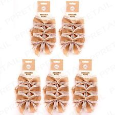15Pc HESSIAN LACE DECORATIVE BOWS Jute/Sisal Rustic Shabby Chic Craft Accessory