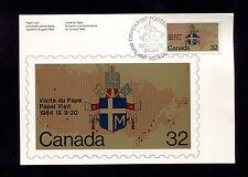 OPC 1984 Canada Papal Visit 32c FDC Card Sc#1030