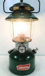 Vintage Coleman 201 Green Single Mantle Lantern April 1982