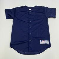 Majestic Team MLB Jersey Mens Youth Large Navy Button Up Mesh Lined Baseball
